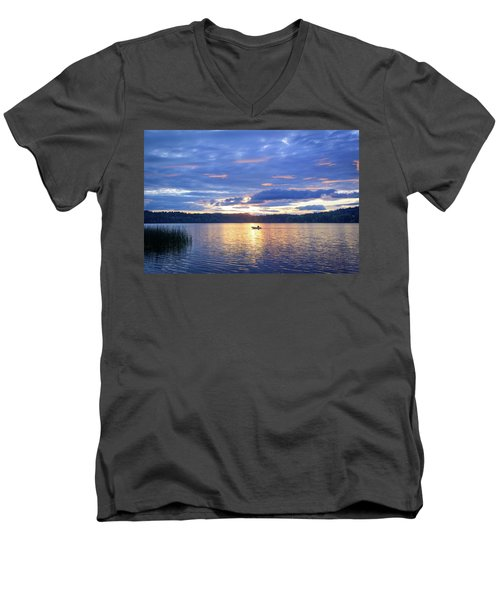Fisherman Heading Home Men's V-Neck T-Shirt by Keith Boone