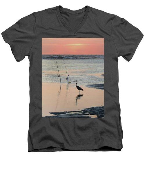Fisherman Heron Men's V-Neck T-Shirt by Deborah Smith