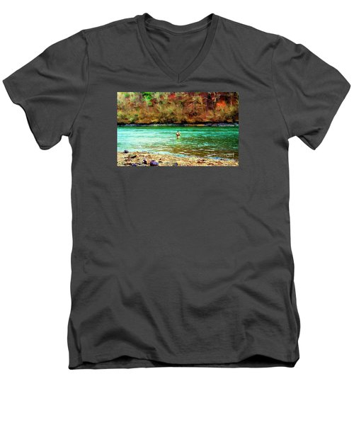 Men's V-Neck T-Shirt featuring the photograph Fisherman Hot Springs Ar In Oil by Diana Mary Sharpton