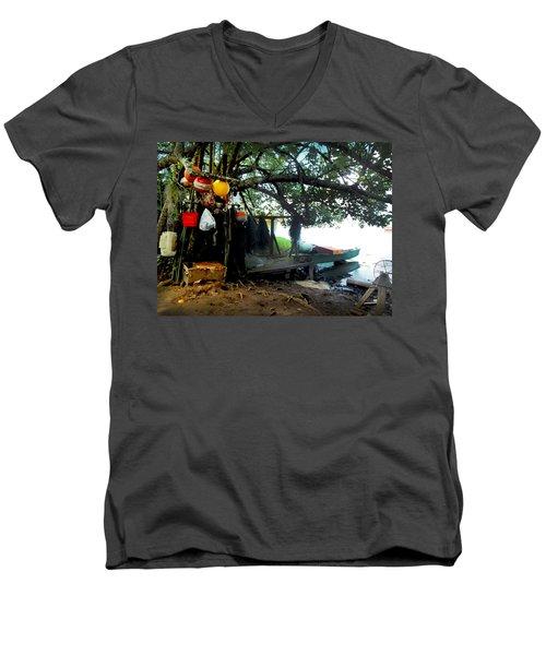 Fishing In Moorea Men's V-Neck T-Shirt