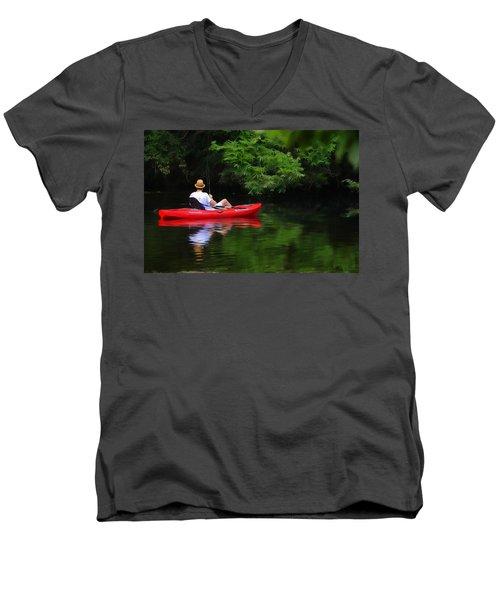 Fisherman On Lady Bird Lake - Digitalart Men's V-Neck T-Shirt