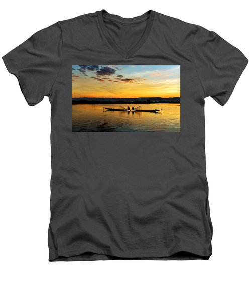 Fisherman On Their Boat Men's V-Neck T-Shirt