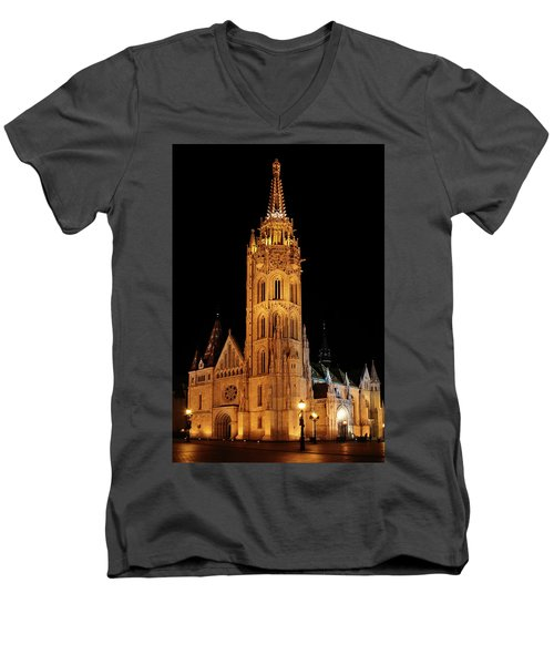Men's V-Neck T-Shirt featuring the digital art  Fishermans Bastion - Budapest by Pat Speirs