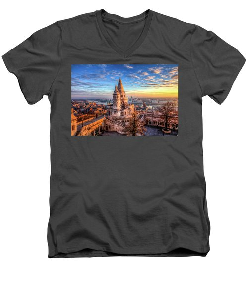 Men's V-Neck T-Shirt featuring the photograph Fisherman's Bastion In Budapest by Shawn Everhart