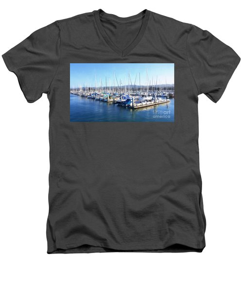 Men's V-Neck T-Shirt featuring the photograph Fisherman's Wharf Monterey by Gina Savage