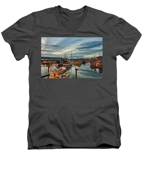 Men's V-Neck T-Shirt featuring the photograph Fishermans Wharf by Randy Hall