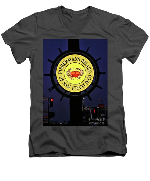 Fishermans Wharf Sign At Night Men's V-Neck T-Shirt