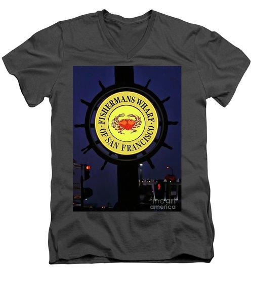 Fishermans Wharf Sign At Night Men's V-Neck T-Shirt