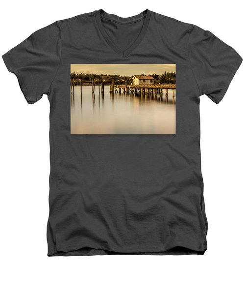 Fishermen Fuel Dock Men's V-Neck T-Shirt by Tony Locke