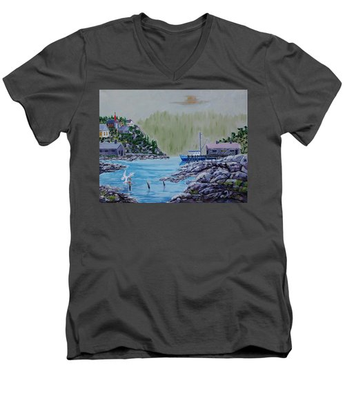 Fisher's Cove Men's V-Neck T-Shirt by Mike Caitham