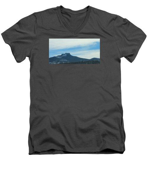 Fishers Peak Raton Mesa In Snow Men's V-Neck T-Shirt by Christopher Kirby