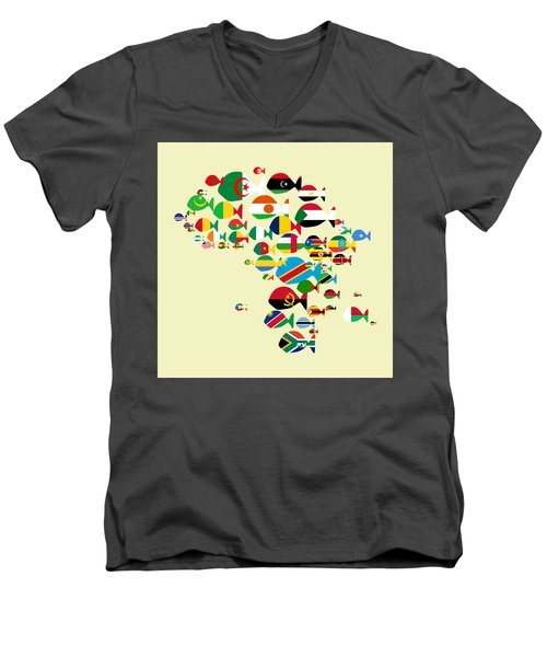 Fishes Map Of Africa Men's V-Neck T-Shirt