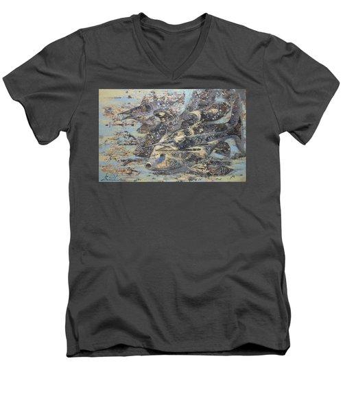 Fishes. Monotype Men's V-Neck T-Shirt