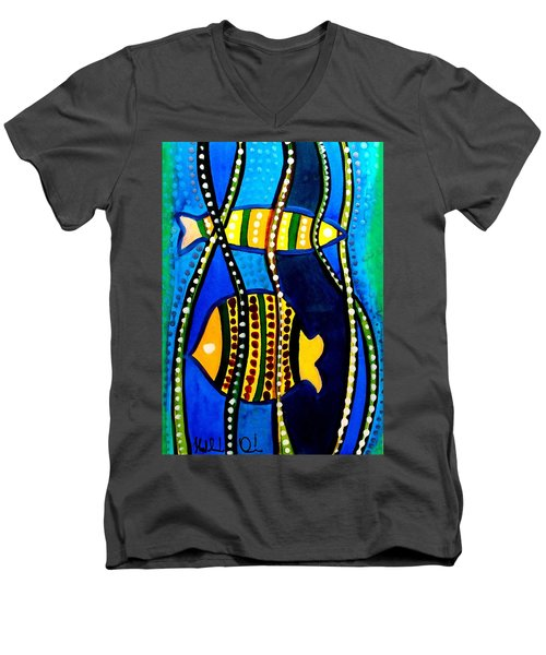 Men's V-Neck T-Shirt featuring the painting Fishes With Seaweed - Art By Dora Hathazi Mendes by Dora Hathazi Mendes