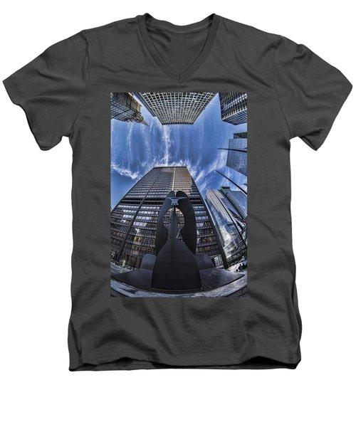 Fisheye View Of Chicago's Picasso Men's V-Neck T-Shirt