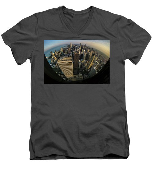 Fisheye View Of Dowtown Chicago From Above  Men's V-Neck T-Shirt
