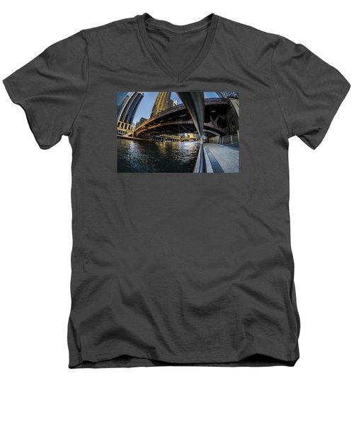 Fisheye View From The Chicago Riverwalk Men's V-Neck T-Shirt