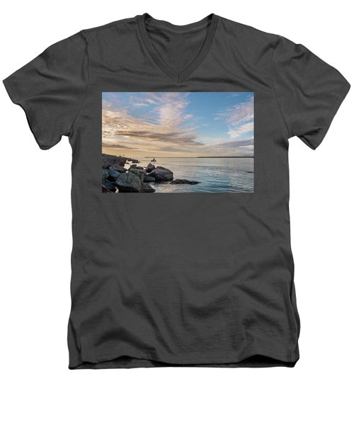 Fishing Along The South Jetty Men's V-Neck T-Shirt by Greg Nyquist