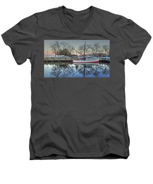 Fishing Boat At Newburyport Men's V-Neck T-Shirt
