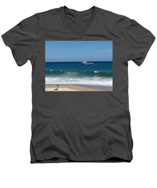 Fishing Boat Men's V-Neck T-Shirt by Dorothy Maier