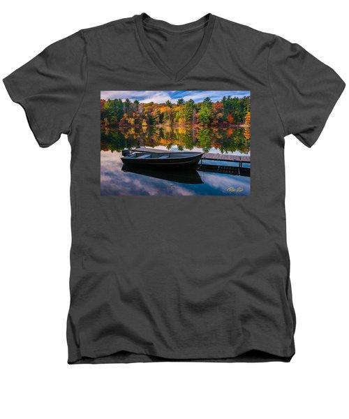 Fishing Boat On Mirror Lake Men's V-Neck T-Shirt