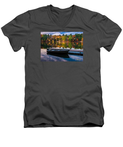 Men's V-Neck T-Shirt featuring the photograph Fishing Boat On Mirror Lake by Rikk Flohr