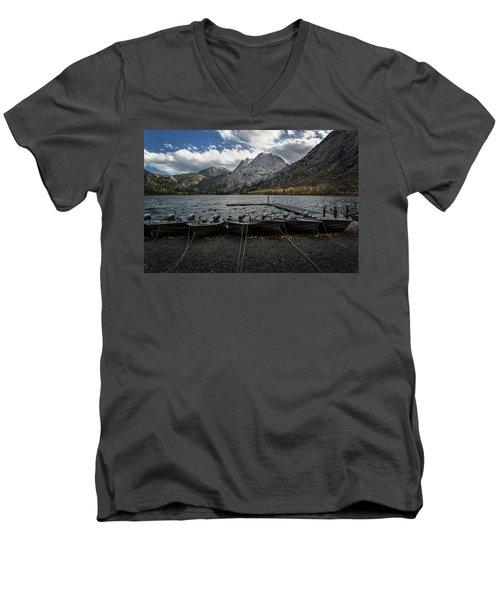 Fishing Boats Along The Shore Men's V-Neck T-Shirt