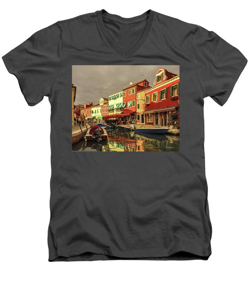 Fishing Boats In Colorful Burano Men's V-Neck T-Shirt