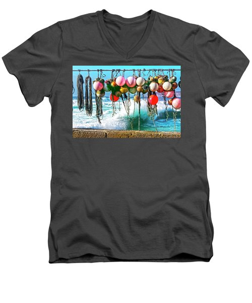 Men's V-Neck T-Shirt featuring the photograph Fishing Buoys by Terri Waters