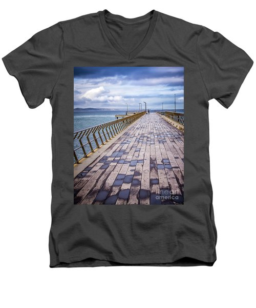 Men's V-Neck T-Shirt featuring the photograph Fishing Day by Perry Webster