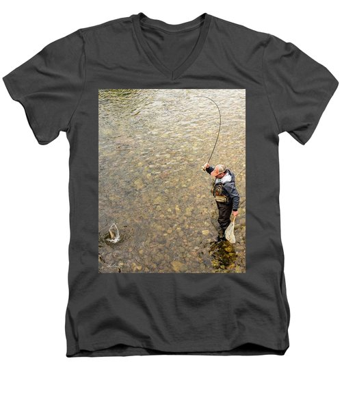Men's V-Neck T-Shirt featuring the photograph Fishing For Rainbow by Tim Kathka