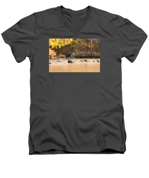 Men's V-Neck T-Shirt featuring the photograph Fishing In Fall by Sheila Brown