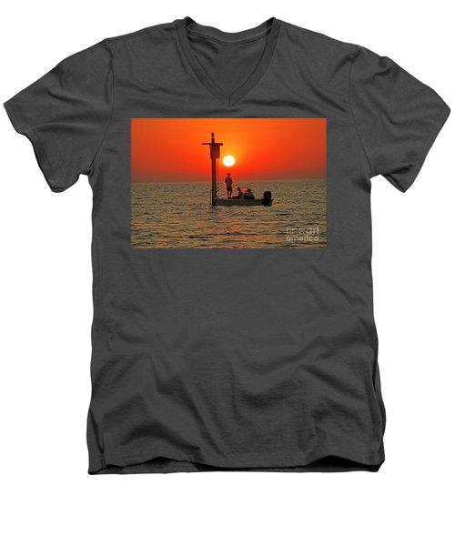 Fishing In Lacombe Louisiana Men's V-Neck T-Shirt by Luana K Perez