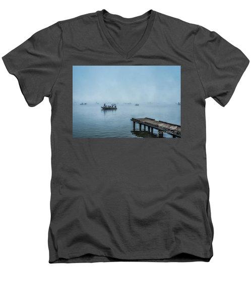 Fishing In The Fog Summersville Lake  Men's V-Neck T-Shirt