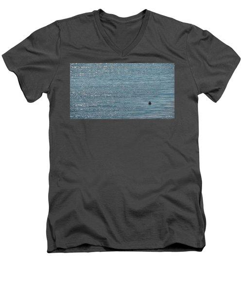 Men's V-Neck T-Shirt featuring the photograph Fishing In The Ocean Off Palos Verdes by Joe Bonita