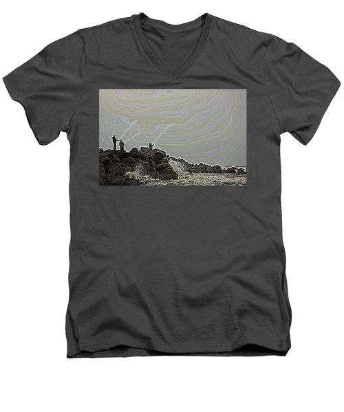Fishing In The Twilight Zone Men's V-Neck T-Shirt