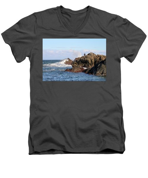 Men's V-Neck T-Shirt featuring the photograph Fishing by Linda Lees