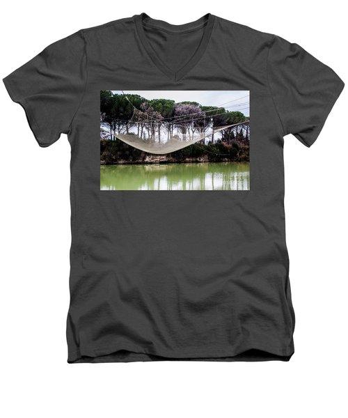Fishing Net Men's V-Neck T-Shirt by Ana Mireles