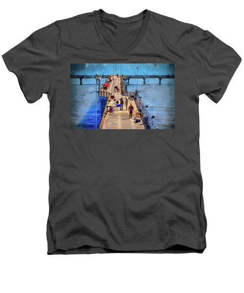 Fishing Off Galvaston Pier Men's V-Neck T-Shirt by Cedric Hampton