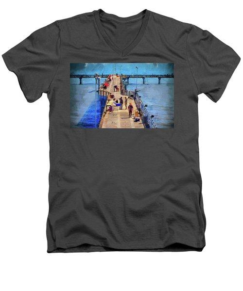 Fishing Off Galvaston Pier Men's V-Neck T-Shirt