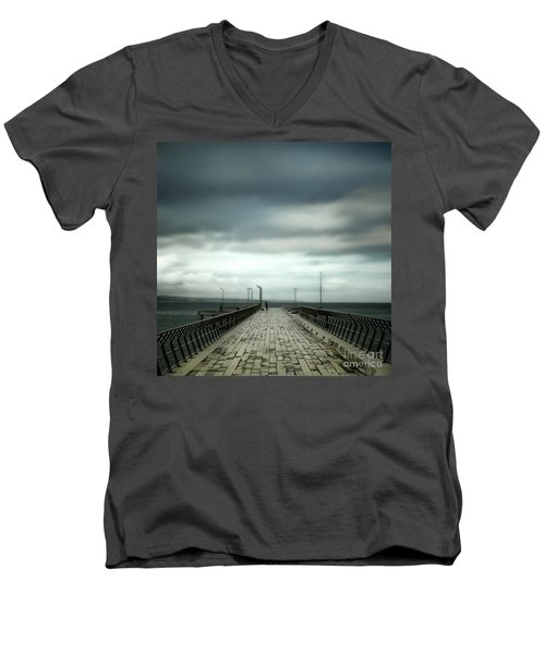 Men's V-Neck T-Shirt featuring the photograph Fishing Pier by Perry Webster