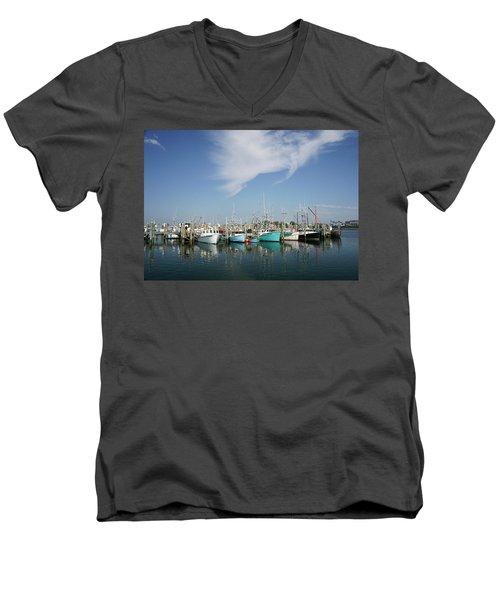 Fishing Vessels At Galilee Rhode Island Men's V-Neck T-Shirt