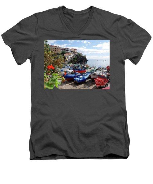Fishing Village On The Island Of Madeira Men's V-Neck T-Shirt