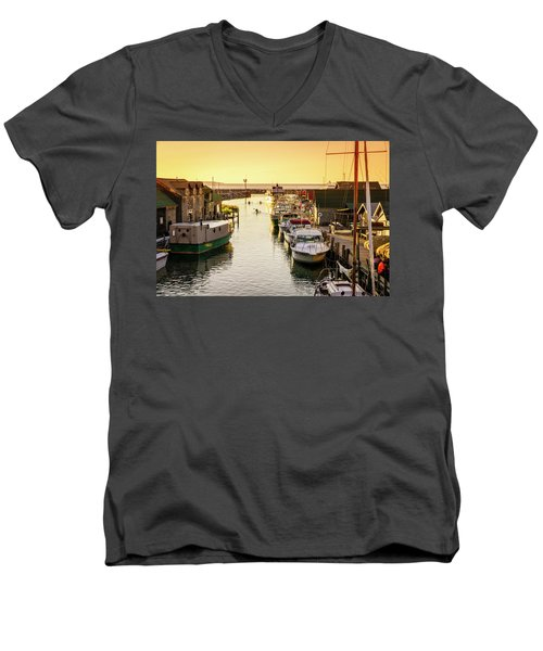 Men's V-Neck T-Shirt featuring the photograph Fishtown by Alexey Stiop
