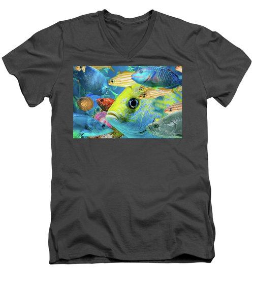 Fishy Collage 02 Men's V-Neck T-Shirt