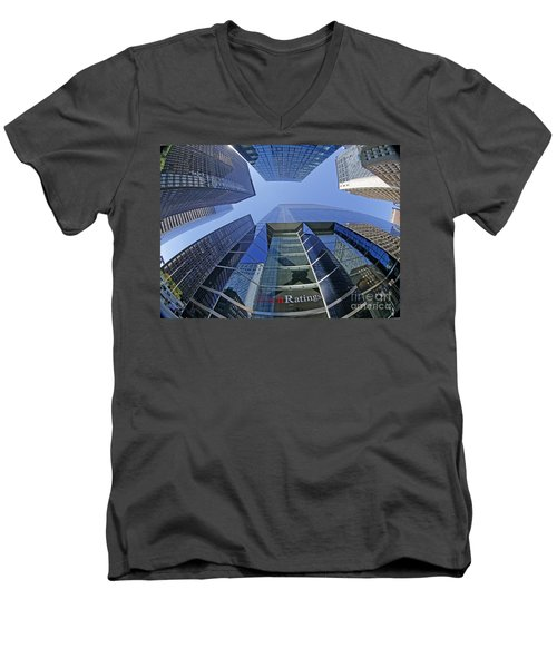 Men's V-Neck T-Shirt featuring the photograph Fitch Ratings Manhattan Nyc by Juergen Held
