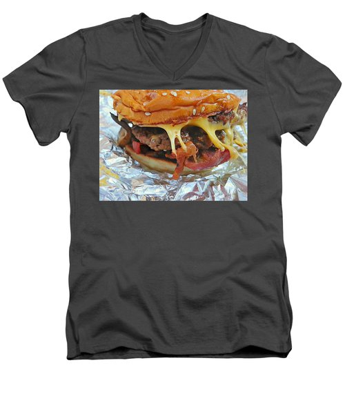 Men's V-Neck T-Shirt featuring the photograph Five Guys Cheeseburger by Robert Knight