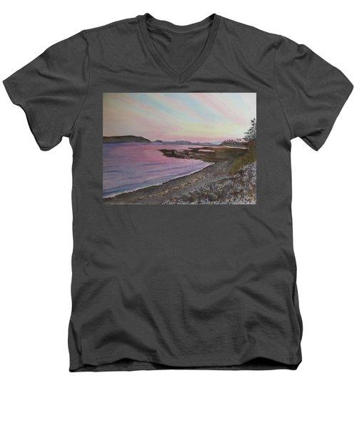 Men's V-Neck T-Shirt featuring the painting Five Islands - Draft IIi by Joel Deutsch