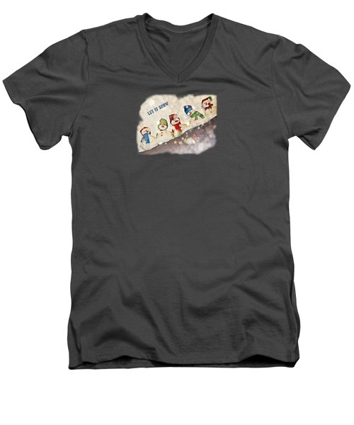 Five Snowmen Cute Colorful Photo-painting Transparent Let It Snow Text Men's V-Neck T-Shirt by Shelly Weingart