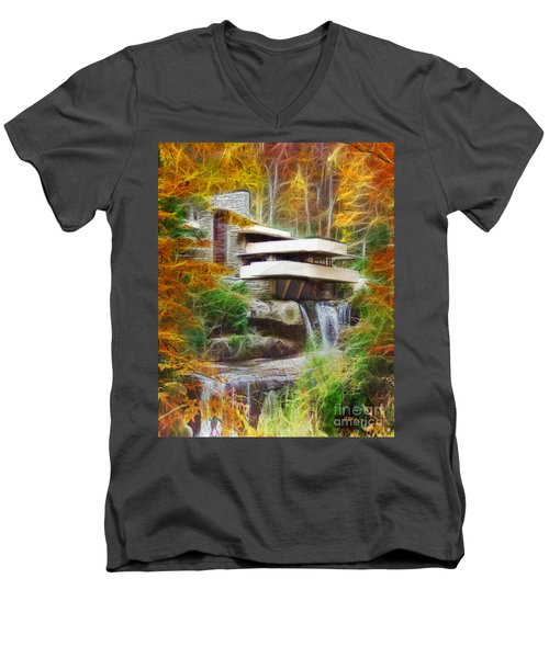 Fixer Upper - Frank Lloyd Wright's Fallingwater Men's V-Neck T-Shirt by John Robert Beck